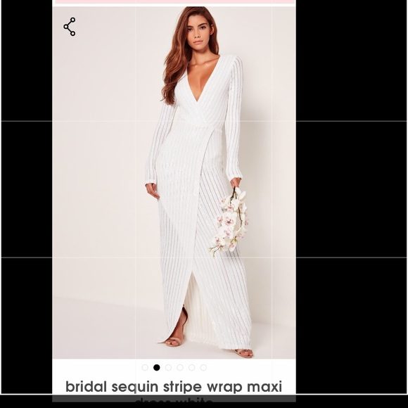 b1b1480f Missguided Bridal Sequins Wrap Dress. M_5cb56e878d6f1a1010f58aa9
